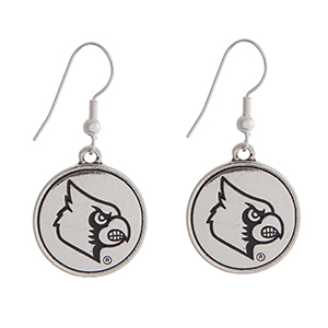 "Officially licensed University of Louisville silver tone fishhook earrings with a circle logo. Approximately 2"" in length."