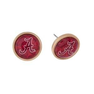 """Gold tone officially licensed University of Alabama stud earrings. Approximately 2/3"""" in length. Our exclusive design."""