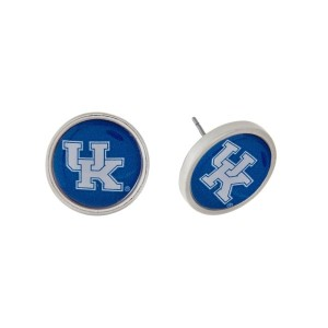 """JUDSON & COMPANY EXCLUSIVE!  Silver tone officially licensed University of Kentucky stud earrings. Approximately 2/3"""" in length."""
