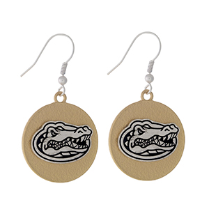 """Officially licensed, two tone fishhook earrings with the University of Florida logo. Approximately 1"""" in diameter."""