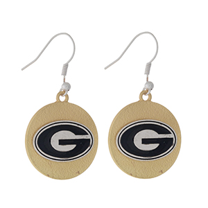 "Officially licensed, two tone fishhook earrings with the University of Georgia logo. Approximately 1"" in diameter."