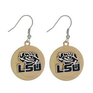 "Officially licensed, two tone fishhook earrings with the LSU logo. Approximately 1"" in diameter."