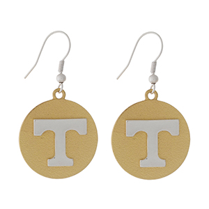 "Officially licensed, two tone fishhook earrings with the University of Tennessee logo. Approximately 1"" in diameter."