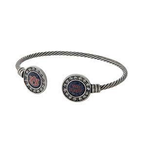 Officially licensed Auburn University silver tone open cuff bracelet.