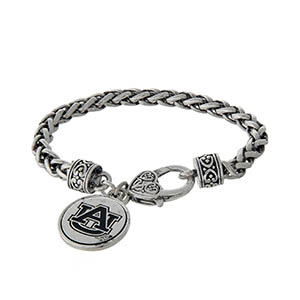 Officially licensed Auburn University silver tone braided bracelet with a lobster clasp and logo charm.
