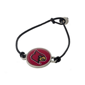 *Our Exclusive Design* Officially licensed University of Louisville, genuine leather cord bracelet with a freshwater pearl bead closure.