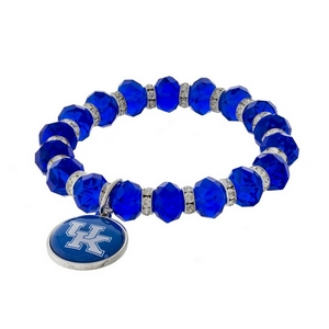 Officially licensed, University of Kentucky stretch bracelet with clear rhinestone accents and a logo charm.