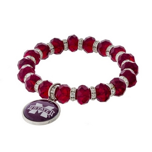 Officially licensed, Mississippi State University stretch bracelet with clear rhinestone accents and a logo charm.