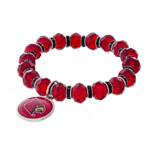 Officially licensed, University of Louisville stretch bracelet with clear rhinestone accents and a logo charm.