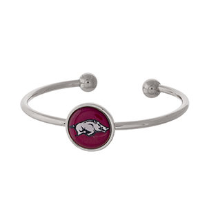 Officially licensed, silver tone cuff bracelet with the University of Arkansas logo.