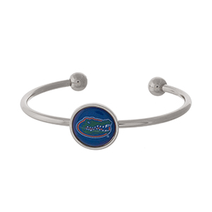 Officially licensed, silver tone cuff bracelet with the University of Florida logo.