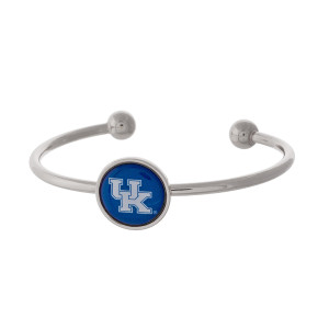 Officially licensed, silver tone cuff bracelet with the University of Kentucky logo.