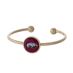 Officially licensed, gold tone cuff bracelet with the University of Arkansas logo.