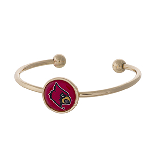 Officially licensed, gold tone cuff bracelet with the University of Louisville logo.
