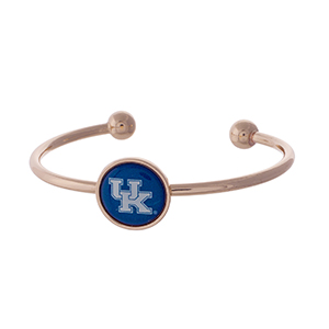 Officially licensed, rose gold tone cuff bracelet with the University of Kentucky logo.