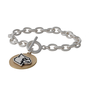 Officially licensed, two tone toggle bracelet with the University of Louisville logo charm.