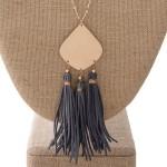 Wholesale long gold necklace metal pendant faux leather detail pendant