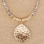 Wholesale chain beaded necklace double drop pendants Approximate pendant