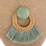 Wholesale long metal necklace wood tassel details Approximate