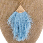 Wholesale long gold metal necklace light blue tassel pendant Pendant overall