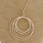 Wholesale long rose gold chain necklace circular pendant silver accents