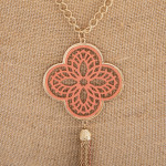 Wholesale long necklace coral filigree pattern pendant tassel detail Pendant ove
