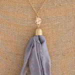 Wholesale long gold chain necklace grey fabric tassel Tassel