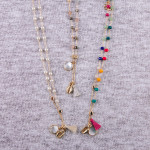 Wholesale dainty metal necklace multicolor faceted bead details tassel pearl puk