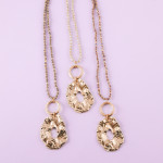 Wholesale long beaded necklace iridescent bead details crinkled metal pendant go