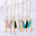 Wholesale long cable chain necklace natural stone pendant metal bar accent Penda