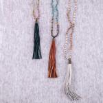 Wholesale long iridescent beaded necklace tassel pendant Pendant overall