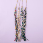 Wholesale long dainty cable chain necklace iridescent beaded tassel pendant Pend