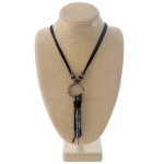 Wholesale faux leather necklace faceted beaded tassel detail resin accent Pendan