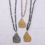 Wholesale long beaded necklace hammered nugget pendant Pendant overall