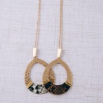 Wholesale hammered teardrop pendant necklace snakeskin wire wrapped details Pend