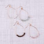 Wholesale metal teardrop earrings amazonite natural stone beaded details
