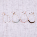 Wholesale metal teardrop earrings white natural stone beaded details