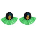 Wholesale green raffia tassel earrings pineapple embroidered detail stud post