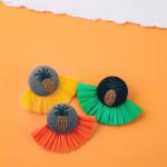 Wholesale yellow raffia tassel earrings pineapple embroidered detail stud post