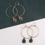 Wholesale circular drop earrings hanging teardrop wood accent diameter