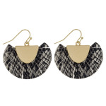 Wholesale feather inspired tassel earrings snakeskin print gold metal accent
