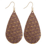 Wholesale long genuine leather drop earring scale details Approximate