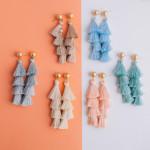 Wholesale long tassel earring gold post Approximate