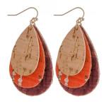 Wholesale trio layered cork inspired teardrop earrings