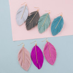 Wholesale long feather fabric inspired earrings metal bar accent