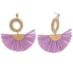 Wholesale raffia tassel earrings rattan woven circular accent stud post