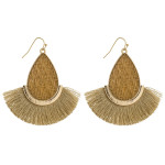 Wholesale rattan woven teardrop earrings tassel details gold metal accents