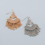Wholesale long metal plated drop earrings metal accents tassel details