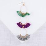 Wholesale dainty teardrop earrings tassel details gold accents