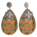 Wholesale large western cork teardrop earrings natural stone details